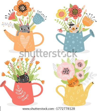 Cute cats in garden watering cans with flowers. Foto stock ©