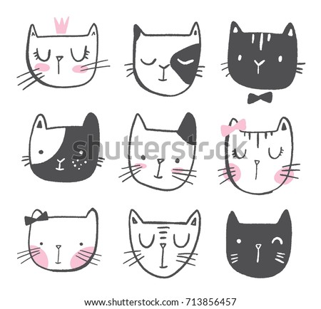 Cute Cats in hand drawn style. Girl children vector doodle illustration.