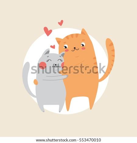 cute cats in love hugging