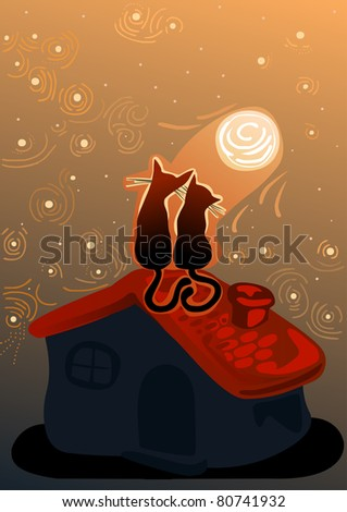 cute cats in love on a roof of a house in the moonlight