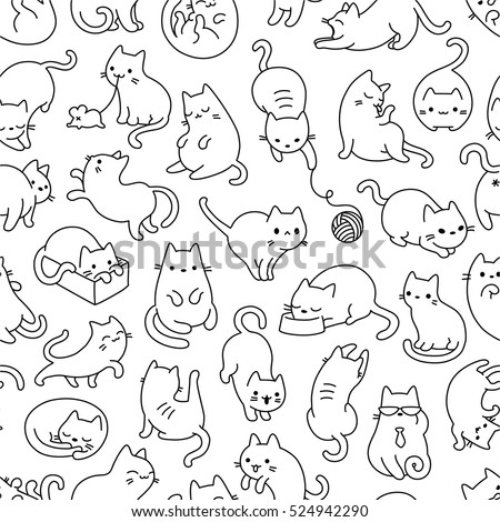 cute cats pet seamless icons