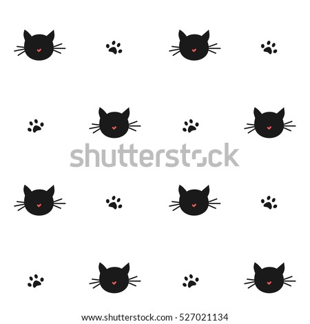 cute cats silhouette seamless