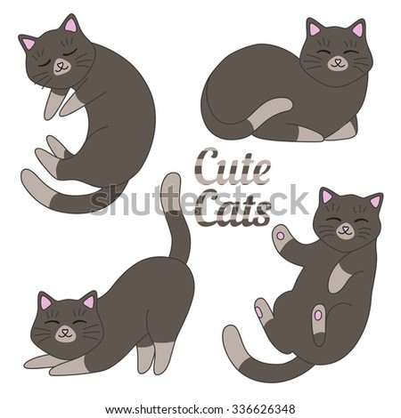 cute cats vector set dark gray