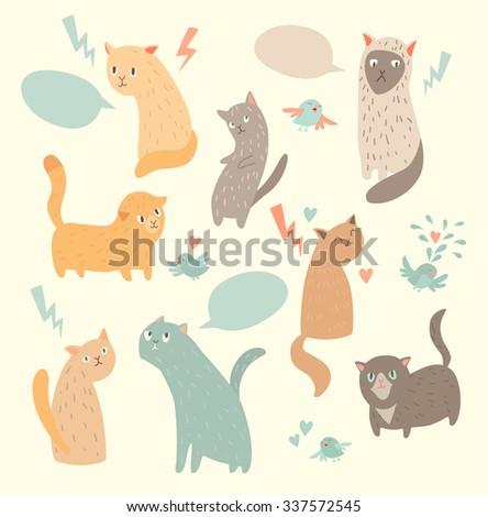 cute cats  vintage color ...