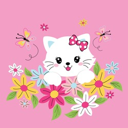cute cats with beautiful flowers vector illustration
