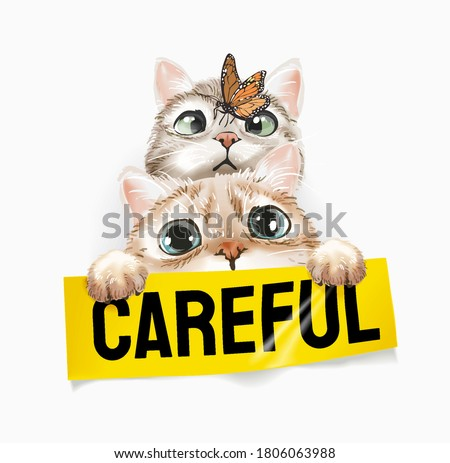 cute cats with butterfly holding careful sign illustration Stock photo ©