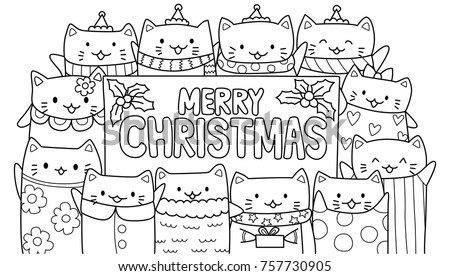cute cats with merry christmas