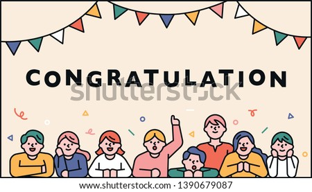 Cute celebration decoration card. People who congratulate you. flat design style minimal vector illustration