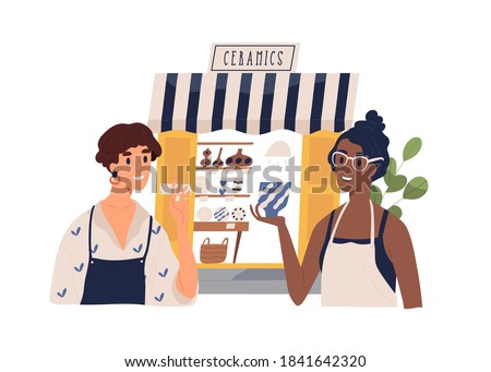 Cute ceramics shop owners talking to each other. Happy seller and customer. Woman sell handcrafted ceramic and pottery. Small modern business. Flat vector cartoon illustration on white background Сток-фото ©