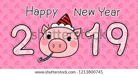 cute character cartoon pig wearing a party hat sitting with party blower happy new year