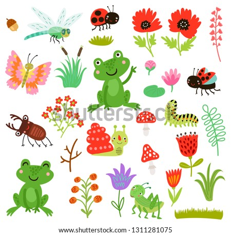 Stock Photo Cute characters set. Vector collection. Frogs and insects
