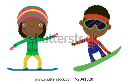 Cute cheerful African-American kids flying on a snowboard. Color illustration.