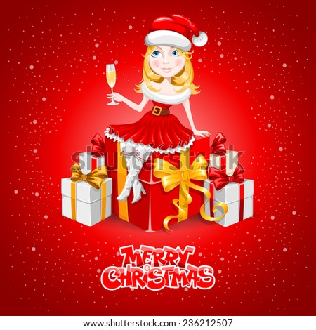 Stock Photo Cute cheerful cartoon girl in the Christmas costume with a many gifts and banner for your congratulation. Vector illustration.
