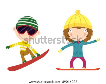 Cute cheerful kids flying on a snowboard. Color illustration.