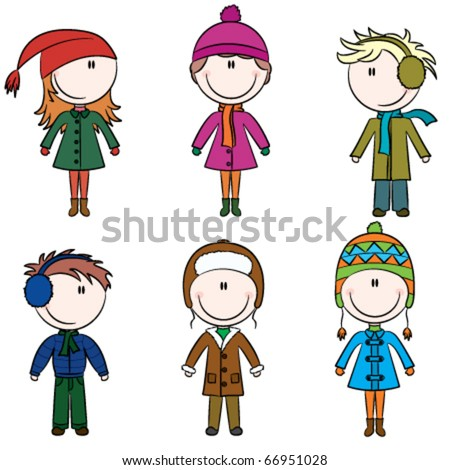 Cute cheerful kids in winter clothes