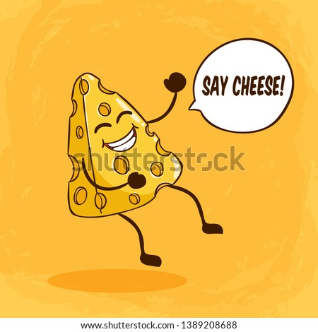Cute cheese character with funny face or expression and say cheese lettering on orange background ストックフォト ©