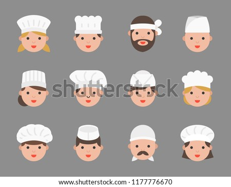 Cute chef avatar in variety such as pastry chef, italian chef, japanese chef, flat design icon