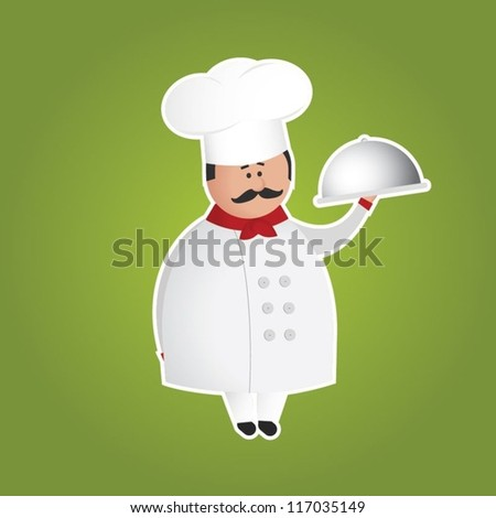 Cute chef (cook) vector character holding a tray. Green background and white border can be removed.