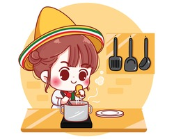 Cute chef cooking in kitchen at home in Mexico cartoon character illustration Premium Vector