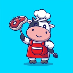 Cute Chef Cow Grill Meat Cartoon Vector Icon Illustration. Animal Food Icon Concept Isolated Premium Vector. Flat Cartoon Style