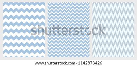 Cute Chevron Vector Pattern Set. 3 Various Size of Chevron. White Background. Blue Simple Geometric Seamless Design.