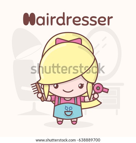 Cute chibi kawaii characters. Alphabet professions. Letter H - Hairdresser. Flat style
