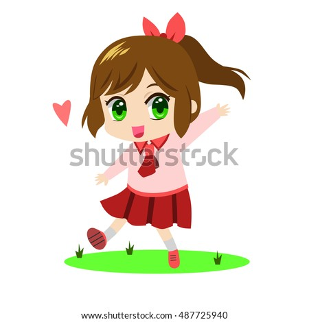 cute chibi little girl wearing