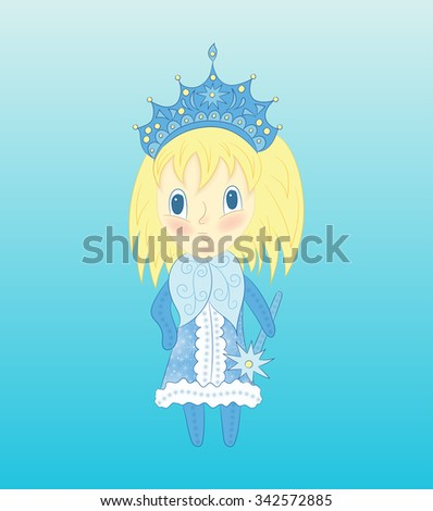 cute chibi snow maiden in a