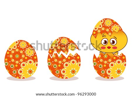 Cute chick hatching from a decorated egg