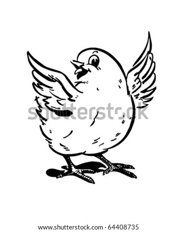 Cute Chick - Retro Clipart Illustration - stock vector
