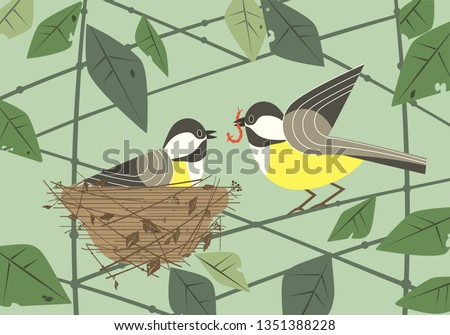 Cute chickadee birds couple in nest. Hand drawn flat minimal design. Male bird is feeding by worm female sitting on eggs in straw nest on tree branch. Vector birdwatching card background illustration