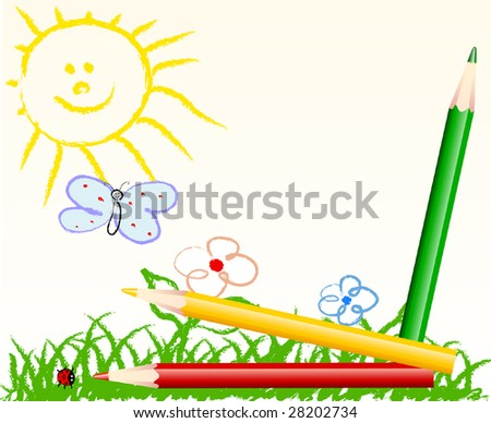cute child handmade drawing - vector illustration - jpeg version in my portfolio - stock vector