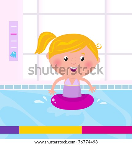 Cute child in swimming pool. Vector Illustration.