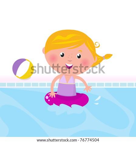 cute child in swimming pool