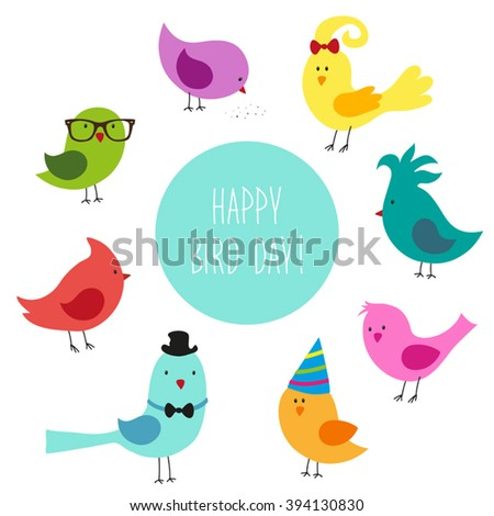 cute childish bird day card