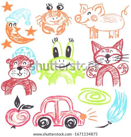 cute childish drawing pastel