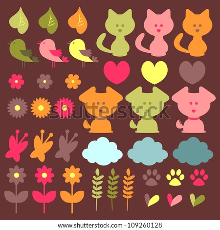 Cute childish elements set animals and nature