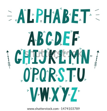 Cute childish font english alphabet decorated with dots. Pastel letters placed in alphabetical order isolated on white background. Flat vector illustration.