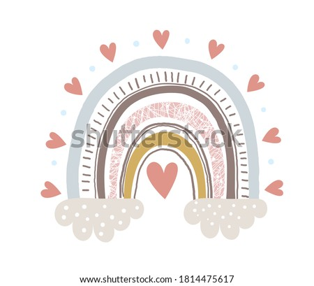 Cute childish illustrations with abstract full color rainbow. Striped arc in vintage pastel colors with hearts and clouds. Simple vector clipart illustration isolated on white background