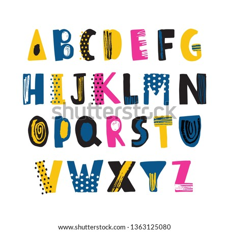 Cute childish latin font or funky english alphabet decorated with dots and scribble. Colorful textured letters placed in alphabetical order isolated on white background. Flat vector illustration.