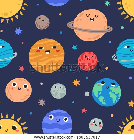 cute childish planets and stars
