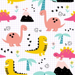 Cute childish seamless pattern with dinosaurs in the jungle. Vector hand drawn illustration.