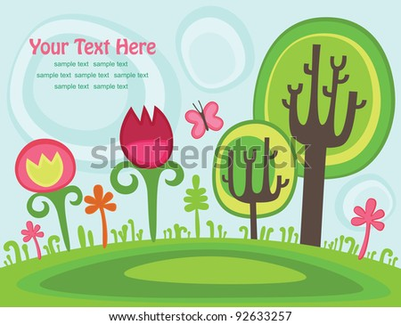 cute childlike magic scene. vector illustration