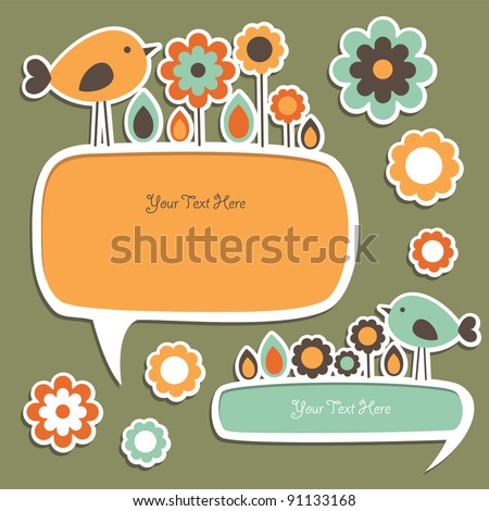 cute childlike stickers. vector illustration