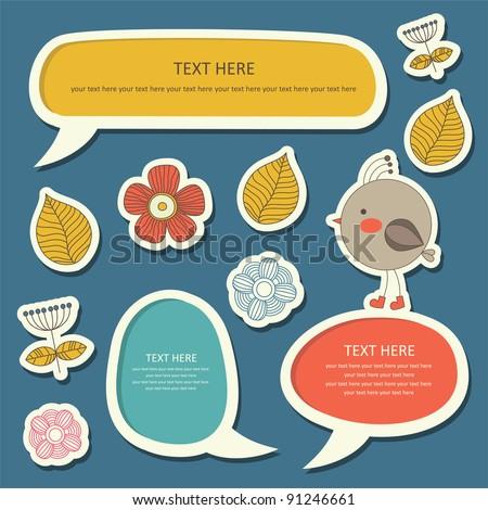 cute childlike stickers. vector illustration