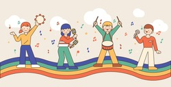 Cute children are playing musical instruments on the rainbow. outline simple vector illustration.