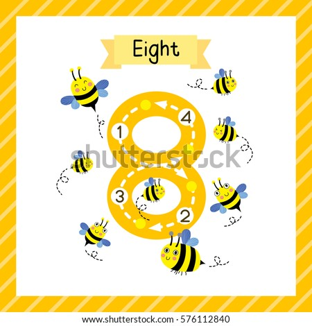 Cute children Flashcard number eight tracing with 8 Bees for kids learning to count and to write.