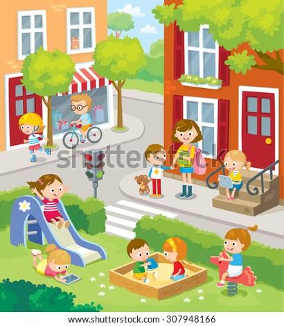 cute children in the town
