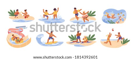 Cute children play games on summer beach. Siblings swim, dive at sea, slide at aquapark, build sand castle and surf. Scene of childhood recreation. Flat vector cartoon illustrations isolated on white