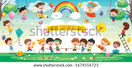 Cute Children Playing At Abstract Nature